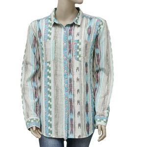 Free People Printed Long Sleeve Buttondown Top  M